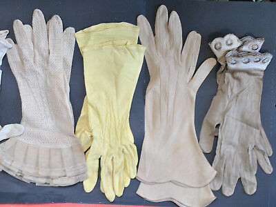Vintage Womens Yellow and Neutral Color Gloves