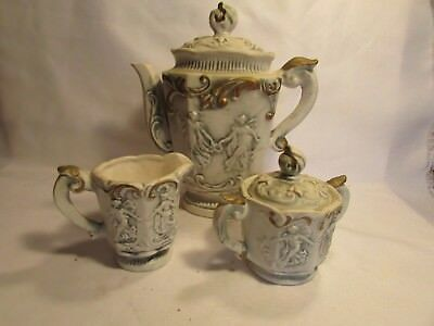 3 Royal Sealy, Coffe Pot & Sugar And Creamer Vintage Japan Bisque Finish Pretty