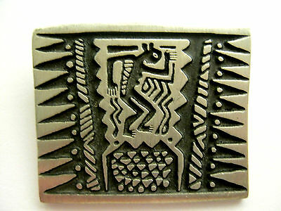 Urban Fetishes ALICE SEELY Petroglyph Native Dancer Brooch Vintage Signed Retro