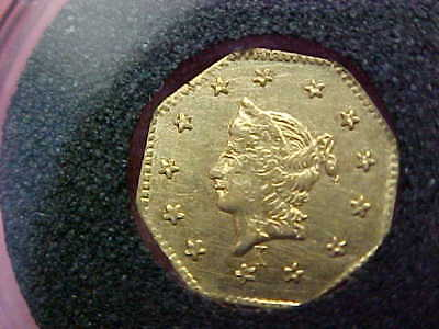 Bu 1858 Octagonal Liberty California Gold Dollar  Bg-1306 Kroll Well Struck Coin