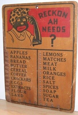 """Mammy Reminder Board-Wood-Authentic-Black Americana-6"""" by 8 1/2""""No pegs"""