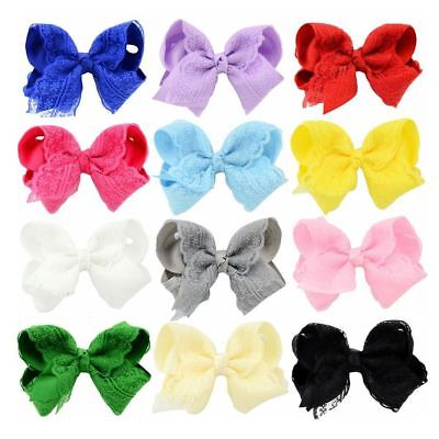 """12 PCS/Lot 4"""" Inch Baby Girl Kids Hair Bow Alligator Covered Clips Accessories H"""