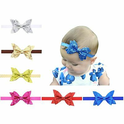 "6 PCS/Lot 4"" Glitter Sequin Bow Headbands Hair Bands Baby Girl Toddlers Kids"