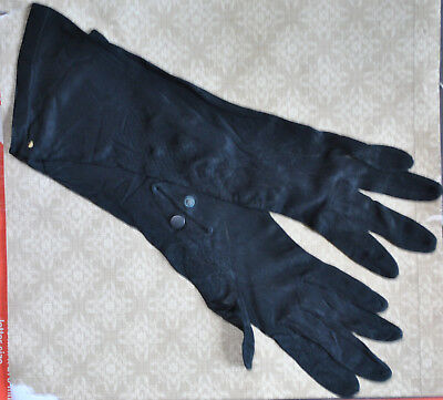 Vintage Womens Black Long Gloves with Snap at Wrist Rayon 7 1/2
