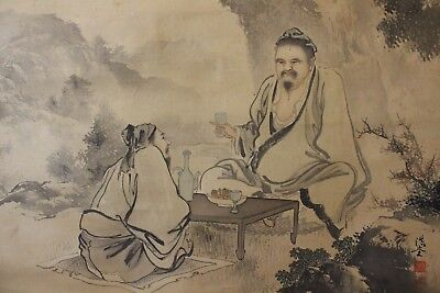 W02H1 ~Chinese Wisemen Drinking Little Party~ Japanese Hanging Scroll