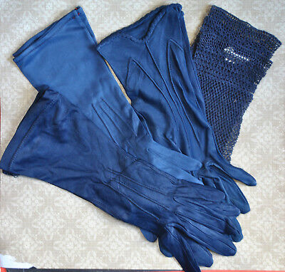 Vintage Womens Navy Blue Gloves Rayon 6 1/2
