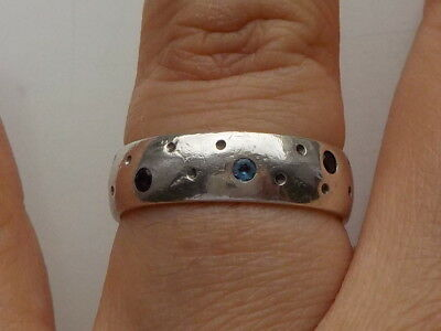 Silver Band Ring With Gems Metal Detecting Find