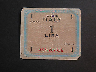 WWII Allied Military Currency Italy 1 LIRA 1943 Series, Paper money, Vintage