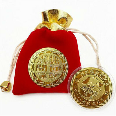 Chinese Zodiac Wealth Blessing Year of the Dog 2018 Gold Plated Coin Token