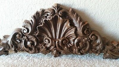 Wood Crown Molding Furniture Arch Door Window Pediment Paisley Leaf Design