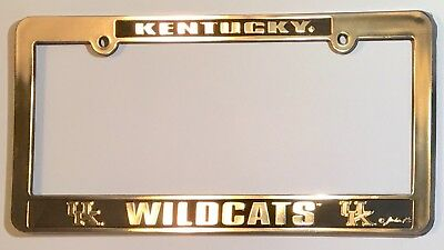 Kentucky Wildcats  Car Truck Tag License Plate Frame  University Silver Black