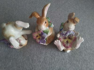 Fitz and Floyd Halcyon Bunny Rabbit Tumblers Set of 3