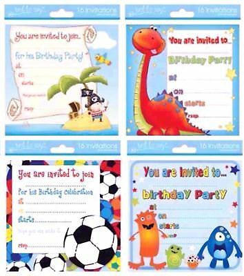 birthday invite boys party invitations cards 4 designs with envelopes 16 cards