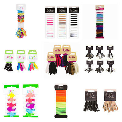 Girls ladies hair bobbles elastics bands accessories thin thick neon black brown