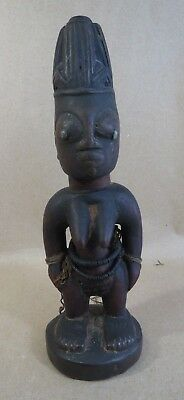 "Antique AFRICAN Hand-Carved 9"" Female FERTILITY STATUE Trade Beads"