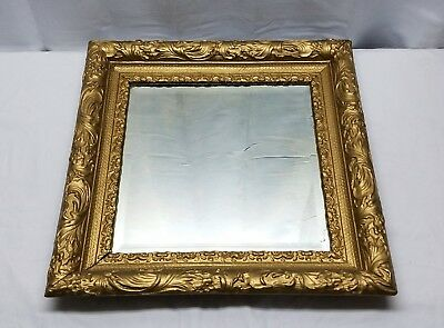 Vintage Antique Gold Gilt Gesso Wood Frame Mirror Square Glass Victorian 20 x 20