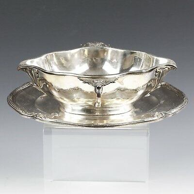 Antique French Paris Christofle Cardeilhac sterling silver 2pc Sauce Boat