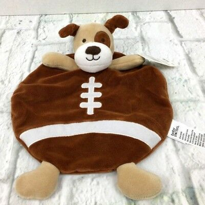 Baby Starters Puppy Dog Football Snuggle Security Blanket Rattle Brown New