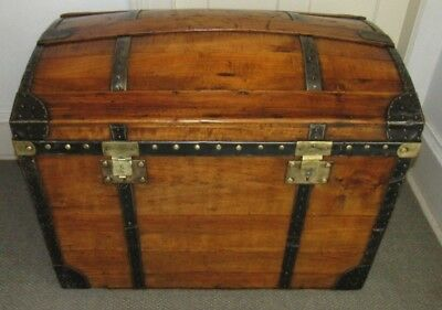 Antique Steamer Trunk Vintage French High Rise Dome Top Wedding / Brides Chest