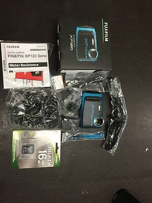 FujiFilm XP120 16MP Waterproof Digital Camera Blue Fuji xp-120