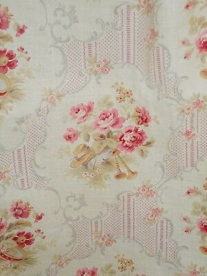 TISSU ANCIEN COTON ROSES/ 2,80mx0,80 ANTIQUE FRENCH FABRIC COVERED BOX TEXTILE