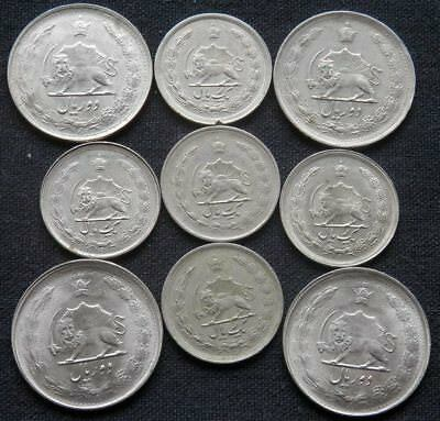 9 Coins From The Years Of The Shah; 5 X 1 Rial, 4 X 2 Rials, Various Years