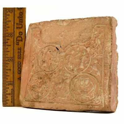 Ancient PRIMITIVE STORY TILE Carved OLD POTTERY PLAQUE Pre-Columbian/Near East?