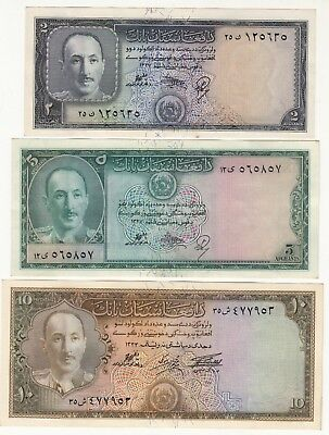 1327,1333 Afghanistan 2,5,10Afg Paper Money King Zahir Shah Aunc To Unc.
