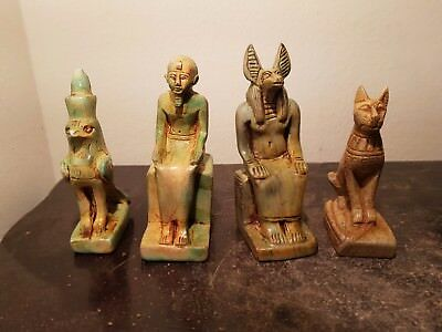 Rare Antique Ancient Egyptian 4 Statu God Bastet Anubis Imhotep Horus2687-2668BC