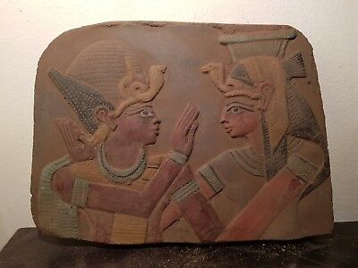 Rare Antique Ancient Egyptian Stela King Ramses & Queen Nefertari 1279–1213BC