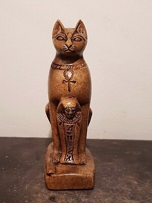 Rare Antique Ancient Egyptian Statue God Bastet Ushabti & key life1319-1292BC