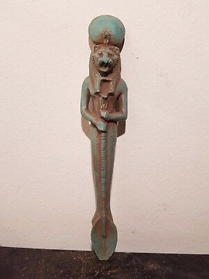 Rare Antique Ancient Egyptian Funeral Spoon Holded By God Sekhmet1750-1670BC