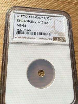 1750 1/32 Regensburg Germany NGC MS 65 Fr 2545a Very Rare Finest Known No Reserv