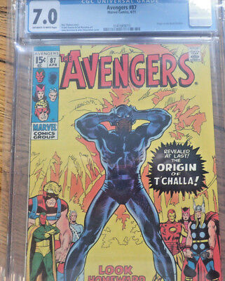 Avengers #87 Cgc 7.0  Origin Of The Black Panther Fn/vf