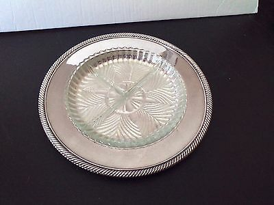 WM ROGERS 811 Silverplate Dish with Glass Tray - Vintage Relish Tray