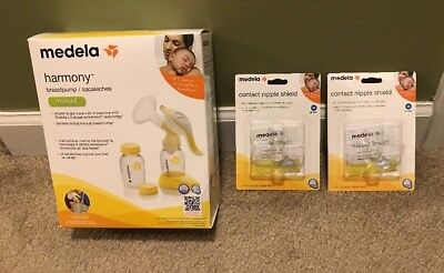 NEW & SEALED Medela Harmony Manual Breast Pump & 2 Contact Nipple Shields SZ MD