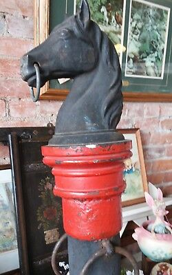 cast iron horse head hitching post, authentic