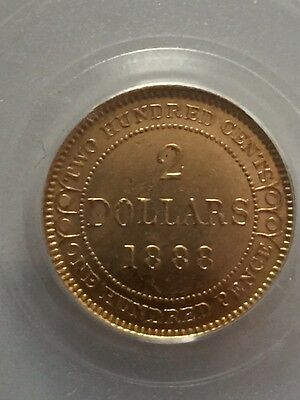 Newfoundland Victoria 1888 Gold $2 Two Dollar 2 Pcgs Ms62