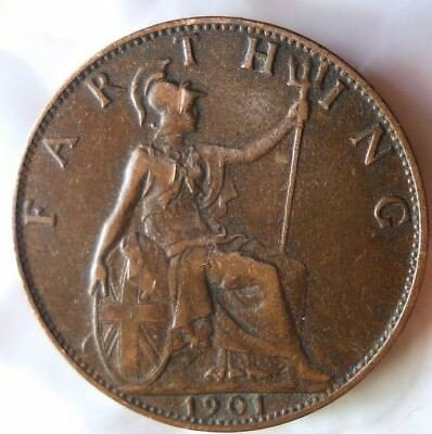 1901 GREAT BRITAIN FARTHING - Excellent Coin - FREE SHIP - Farthing Bin G