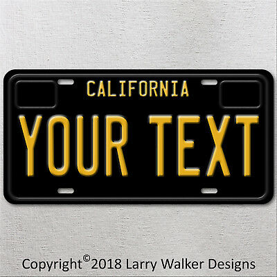 California Vintage Black YOUR TEXT Personalized  Aluminum License Plate Tag