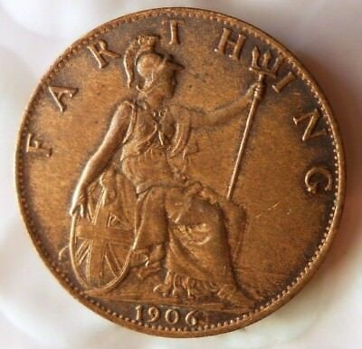 1906 GREAT BRITAIN FARTHING - Excellent Coin - FREE SHIP - Farthing Bin