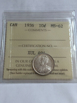 Canada George 1936 10 Cent Silver Dime Iccs Graded Mint State 62