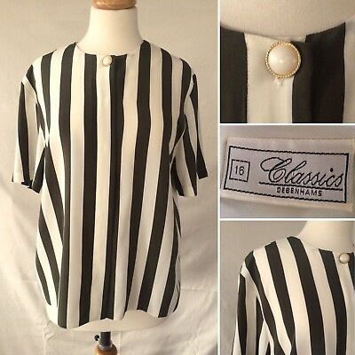 Vintage 1980s Debenhams Olive Green Cream Striped Blouse Short Sleeve Size 14 16