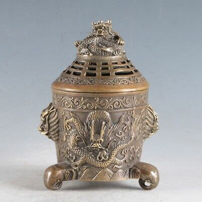 Chinese Exquisite Copper Dragon Incense Burner  Made During The Royal Daqing HT