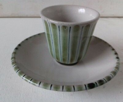 Rye Pottery, studio egg cup with saucer striped mid century xllnt