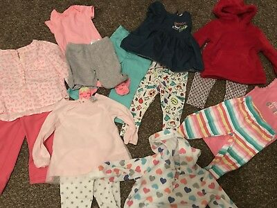 Carters Cat & Jack Baby Girl Clothes New  & Used Lot Size 6-12 Months 14 Pieces