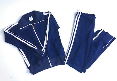 Vintage 1980's Navy Blue Full Track Suit-ASCOT-NEW OLD STOCK!! Adult Medium