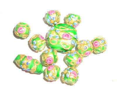 Rare Vintage Antique Victorian Glass Wedding Cake Beads Green Mixed Shape 12 pc