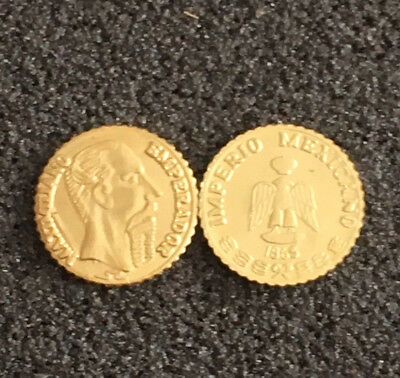 Reduced $ Bid for Two (2) 1865 Mexican 1 Gold Peso Coins Lot - Thursday Special