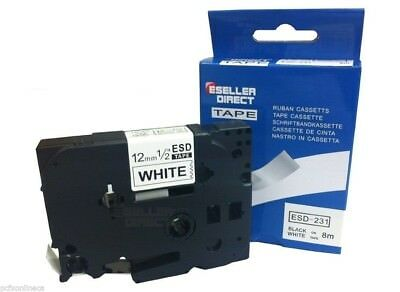 "Label Tape for Brother TZe231 P-Touch 12mm 0.5""x26' 8M Black on White"